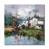 billiga Landskapsmålningar-Hang målad oljemålning HANDMÅLAD - Abstrakt / Landskap Samtida / Moderna Duk