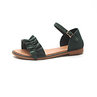 baratos Sapatos Femininos-Mulheres Sapatos Tecido Verão Conforto Sandálias Sem Salto Ponta Redonda Preto / Bege / Verde