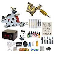 billiga Tatuering och body art-Tattoo Machine Startkit - 2 pcs Tatueringsmaskiner med 7 x 15 ml tatueringsfärger, Professionell, Kits LCD strömförsörjning No case 2 x legering tatuering maskin för lining och skuggning
