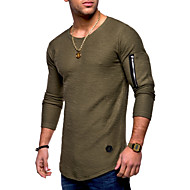 Men's Basic Cotton T-shirt - Solid Colored Round Neck / Long Sleeve