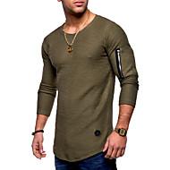 Tee-shirt Homme, Couleur Pleine - Coton Basique Col Arrondi / Manches Longues