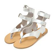 baratos Sapatos Femininos-Mulheres Sapatos Couro Ecológico Verão Conforto / Inovador Sandálias Sem Salto Ponteira Presilha Branco / Preto / Prata