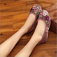 baratos Sapatos Femininos-Mulheres Tule Primavera Verão Conforto Rasos Sem Salto Ponta Redonda Bege / Roxo / Azul