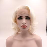 Syntetisk Lace Front Parykker Bølget Frisure i lag Syntetisk hår curling Hvid Paryk Dame Kort Blonde Front / Ja