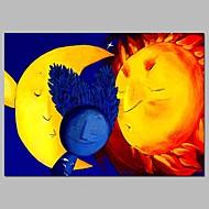 billiga Abstrakta målningar-Hang målad oljemålning HANDMÅLAD - Abstrakt / Tecknat Samtida Duk