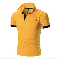Men's Sports Plus Size Cotton Slim Polo - Solid Colored Basic Shirt Collar Yellow XL / Short Sleeve / Summer