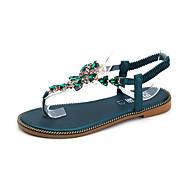 baratos Sapatos Femininos-Mulheres Sapatos Courino Primavera Verão Tira em T Sandálias Sem Salto Ponta Redonda Pedrarias Preto / Verde Claro