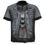 Χαμηλού Κόστους -Ανδρικά T-shirt Κρανίο Εξωγκωμένος Συνδυασμός Χρωμάτων Νεκροκεφαλές Στάμπα