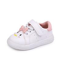 baratos Sapatos de Menina-Para Meninas Sapatos Poliester Primavera & Outono Conforto / Sapatos para Daminhas de Honra Rasos Caminhada Velcro para Infantil Branco /