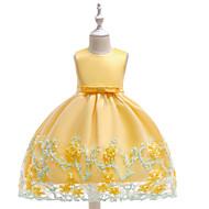 Børn Pige Ensfarvet / Blomstret Uden ærmer Kjole
