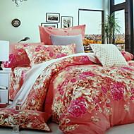 billige Blomstrete dynetrekk-Sengesett Blomstret Polyester / Bomull 100% bomull Reaktivt Trykk 4 deler