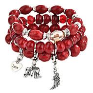 3pcs Tanzanite Layered Charm Bracelet Bead Bracelet Pendant Bracelet Ladies Fashion Multi Layer Bracelet Jewelry Rainbow / Red / Blue For Daily Going out