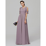 A-Line Jewel Neck Floor Length Chiffon Bridesmaid Dress with Ruffles by LAN TING BRIDE®