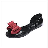 baratos Sapatos Femininos-Mulheres Sapatos Pele PVC / Courino Verão Conforto Rasos Sem Salto Dedo Aberto Vermelho / Azul / Amêndoa
