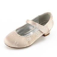 baratos Sapatos de Menina-Para Meninas Sapatos Renda / Cetim Verão Conforto / Bailarina / Tira no Tornozelo Sapatos De Casamento Presilha / Colchete para Prata /
