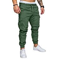 זול -בגדי ריקוד גברים בסיסי מידות גדולות יומי מכנסי טרנינג / מכנסי מטען מכנסיים - אחיד אביב סתיו כחול נייבי חאקי אפור בהיר XXL XXXL XXXXL