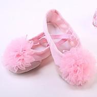 billige Ballettsko-Jente Ballettsko Lerret Flate Kubansk hæl Dansesko Rød / Rosa / Naken / Ytelse