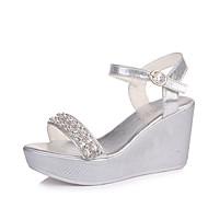 baratos Sapatos Femininos-Mulheres Sapatos Couro Ecológico Verão Conforto Sandálias Salto Plataforma Dourado / Prata / Calcanhares
