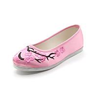 זול מוקסינים לנשים-בגדי ריקוד נשים נעליים משי אביב / סתיו נוחות נעליים ללא שרוכים שטוח בוהן עגולה פרח סאטן שחור / אדום / ורוד