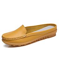 preiswerte -Damen Schuhe Leder Frühling Sommer Komfort / Mokassin Cloggs & Pantoletten Flacher Absatz Schwarz / Orange / Gelb / Party & Festivität