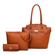 cheap Featured Deals-Women's Bags PU(Polyurethane) Bag Set 3 Pcs Purse Set Buttons / Zipper Geometric Blushing Pink / Gray / Brown
