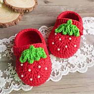 tanie Obuwie dziewczęce-Dla dziewczynek Obuwie Dzianina Jesień Buty do nauki chodzenia Sztuczna perła na Czerwony / Różowy