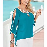 Damen Solide Ausgehen Baumwolle T-shirt Blau XL / Ausgeschnitten