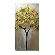 billiga Blom-/växtmålningar-styledecor® modern handmålade abstrakt konsistens gyllene träd oljemålning väggkonst på förpackad duk