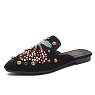 Χαμηλού Κόστους Γυναικεία Τσόκαρα & Μιουλ-Γυναικεία Παπούτσια PU Καλοκαίρι Ανατομικό Σαμπό & Mules Περπάτημα Επίπεδο Τακούνι Μυτερή Μύτη Τεχνητό διαμάντι / Αστραφτερό Γκλίτερ