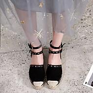 baratos Sapatos Femininos-Mulheres Sapatos Micofibra Sintética PU Primavera / Outono Conforto / Alpargata Rasos Sem Salto Preto / Amêndoa