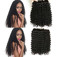 6 Bundler Brasiliansk hår Bølget Menneskehår Én Pack Solution Menneskehår Vævninger Ekstention / Hot Salg Naturlig Farve Menneskehår Extensions Alle