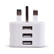 Taşınabilir şarj USB Şarj Aleti UK Prizi 3 USB Bağlantı Noktası 2.1 A 100~240 V için