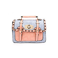 baratos Bolsas Satchel-Mulheres Bolsas PU Bolsa Carteiro Botões Azul / Rosa