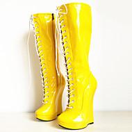 baratos Sapatos Femininos-Mulheres Sapatos Couro Ecológico Outono & inverno Inovador / Botas da Moda Botas Salto Plataforma Ponta Redonda Botas Cano Alto Branco /