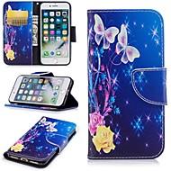 Capinha Para Apple iPhone 6 / iPhone 7 Porta-Cartão / Carteira / Com Suporte Capa Proteção Completa Borboleta Rígida PU Leather para