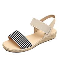 baratos Sapatos Femininos-Mulheres Sapatos Tecido Verão Conforto Sandálias Sem Salto Ponta Redonda Preto / Bege