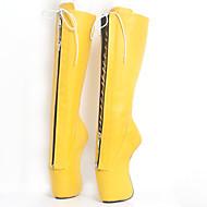 baratos Sapatos Femininos-Mulheres Sapatos Couro Ecológico Outono & inverno Inovador Botas Calcanhar Heterotípico Ponta Redonda Botas Cano Alto Amarelo / Rosa