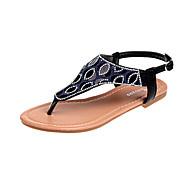 baratos Sapatos Femininos-Mulheres Sapatos Couro Ecológico Verão Conforto Sandálias Caminhada Sem Salto Gliter com Brilho Marron / Vermelho / Rosa claro