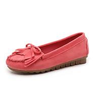 baratos Sapatos Femininos-Mulheres Sapatos Tecido Primavera Verão Conforto Rasos Sem Salto Ponta Redonda Mocassim Vermelho Escuro / Amêndoa / Rosa Claro