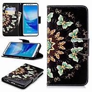 billiga Mobil cases & Skärmskydd-fodral Till Huawei Y9 (2018)(Enjoy 8 Plus) Plånbok / Korthållare / med stativ Fodral Fjäril Hårt PU läder för Huawei Y7(Nova Lite+) / Huawei Y6 (2018) / Huawei Y6 (2017)(Nova Young)