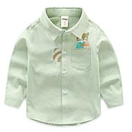 子供 男の子 活発的 日常 プリント 刺繍 長袖 レギュラー コットン / ポリエステル シャツ ホワイト