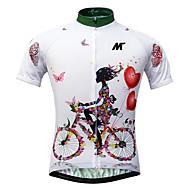 ieftine -Mysenlan Pentru femei Manșon scurt Jerseu Cycling - Alb Floral / Botanic Bicicletă Jerseu, Uscare rapidă, Rezistent la Ultraviolete, Respirabil / Strech / Italia Cerneală importată / Perforat sub bra