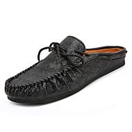 cheap Men's Clogs & Mules-Men's Shoes Leather / PU(Polyurethane) Summer Comfort / Moccasin Clogs & Mules White / Black / Brown