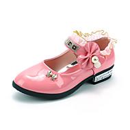 baratos Sapatos de Menina-Para Meninas Sapatos Flocagem / Couro Sintético Primavera Verão Conforto Rasos Caminhada Laço / Velcro para Infantil Pêssego / Vermelho /