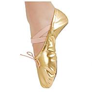 billige Ballettsko-Jente Ballettsko PU Flate Forgylt gjennomsiktig hæl Kan spesialtilpasses Dansesko Gull / Sølv / Ytelse