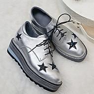 baratos Sapatos Femininos-Mulheres Pele Primavera Conforto Oxfords Sem Salto Preto / Prata