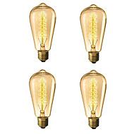 billige Glødelampe-4stk 40 W E26 / E27 ST64 Varm hvit 2300 k Kontor / Bedrift / Mulighet for demping / Tre Glødende Vintage Edison lyspære 220-240 V