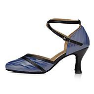 billige Moderne sko-Dame Moderne sko Fuskelær Sandaler Kubansk hæl Dansesko Blå