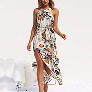 فستان نسائي طباعة - قطن طويل للأرض ورد قبة مرتفعة حول الرقبة مناسب للعطلات