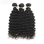 3 Bundler Peruviansk hår Bølget 100% Remy Hair Weave Bundles Hårforlængelse af menneskehår 8-30 inch Menneskehår Vævninger Gratis del Skinnende / Nyt Design / 100% Jomfru Sort Menneskehår Extensions